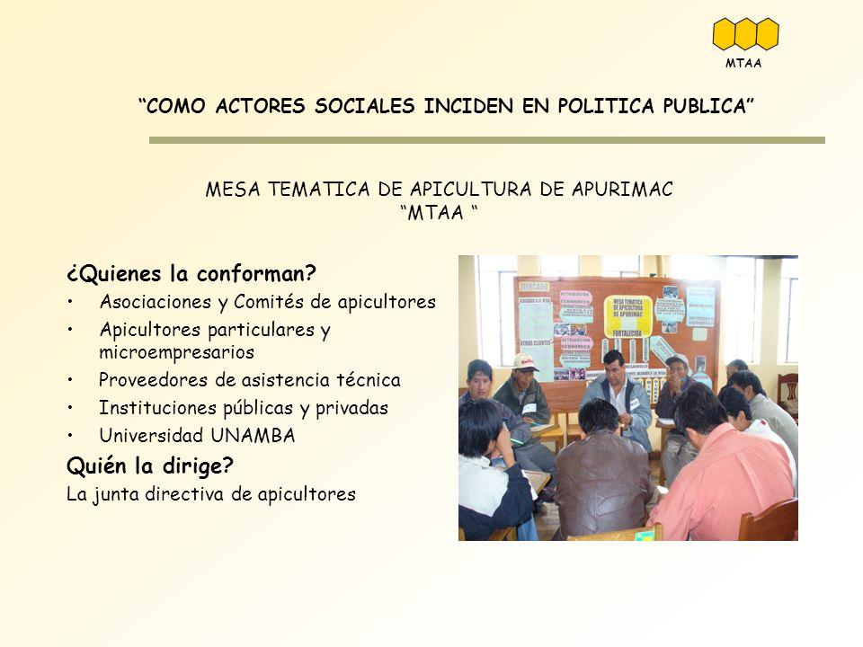 MESA TEMATICA DE APICULTURA DE APURIMAC MTAA COMO ACTORES SOCIALES INCIDEN EN POLITICA PUBLICA ¿Quienes la conforman? Asociaciones y Comités de apicul