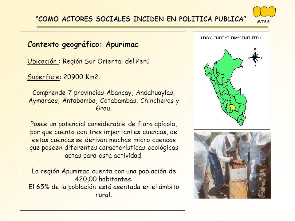 COMO ACTORES SOCIALES INCIDEN EN POLITICA PUBLICA Contexto geográfico: Apurimac Ubicación : Región Sur Oriental del Perú Superficie: 20900 Km2. Compre