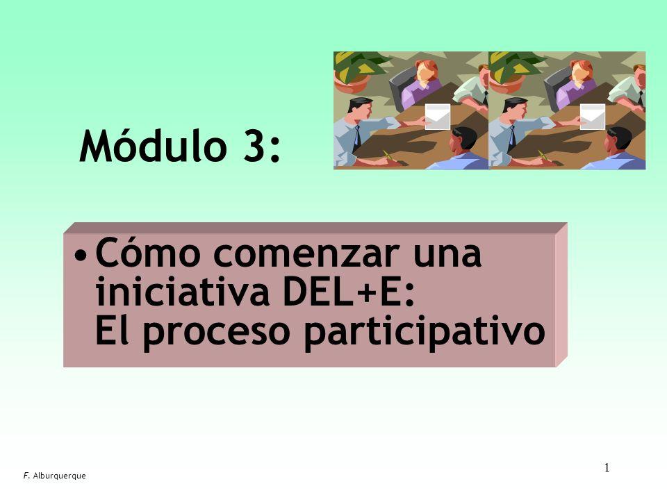 1 Módulo 3: F. Alburquerque Cómo comenzar una iniciativa DEL+E: El proceso participativo