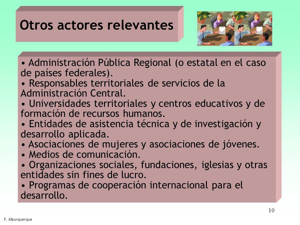 10 Otros actores relevantes F. Alburquerque Administración Pública Regional (o estatal en el caso de países federales). Responsables territoriales de