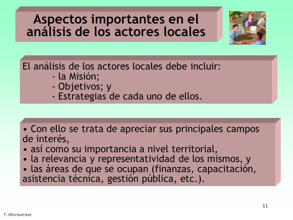 11 Aspectos importantes en el análisis de los actores locales F. Alburquerque El análisis de los actores locales debe incluir: - la Misión; - Objetivo