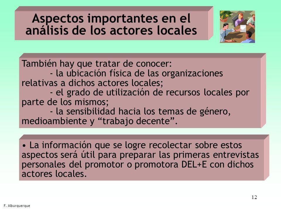 12 Aspectos importantes en el análisis de los actores locales F. Alburquerque También hay que tratar de conocer: - la ubicación física de las organiza