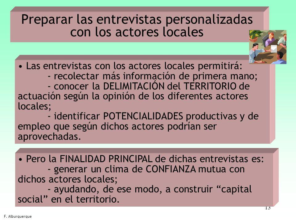 13 Preparar las entrevistas personalizadas con los actores locales F. Alburquerque Las entrevistas con los actores locales permitirá: - recolectar más