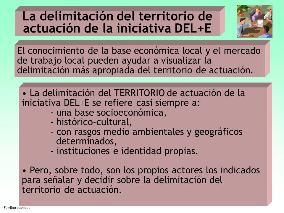 14 La delimitación del territorio de actuación de la iniciativa DEL+E F. Alburquerque El conocimiento de la base económica local y el mercado de traba