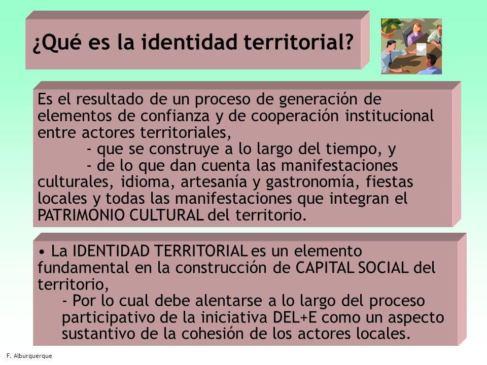 16 ¿Qué es la identidad territorial? F. Alburquerque Es el resultado de un proceso de generación de elementos de confianza y de cooperación institucio