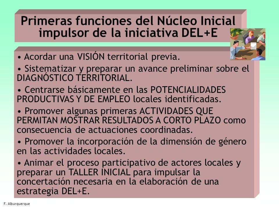 18 Primeras funciones del Núcleo Inicial impulsor de la iniciativa DEL+E F. Alburquerque Acordar una VISIÓN territorial previa. Sistematizar y prepara