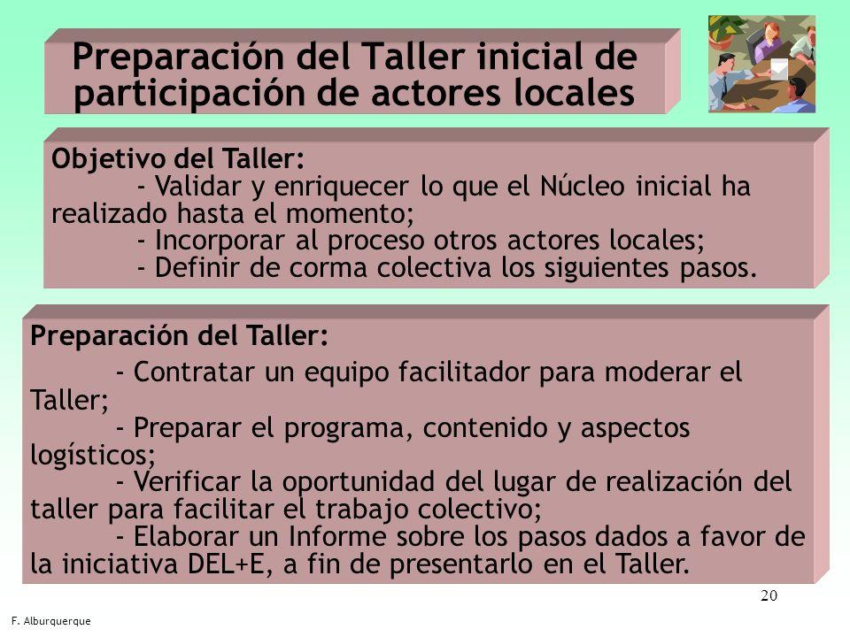 20 Preparación del Taller inicial de participación de actores locales F. Alburquerque Objetivo del Taller: - Validar y enriquecer lo que el Núcleo ini