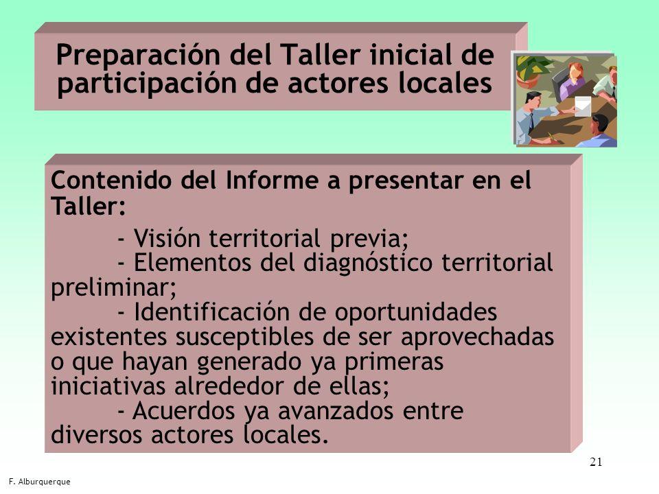 21 Preparación del Taller inicial de participación de actores locales F. Alburquerque Contenido del Informe a presentar en el Taller: - Visión territo
