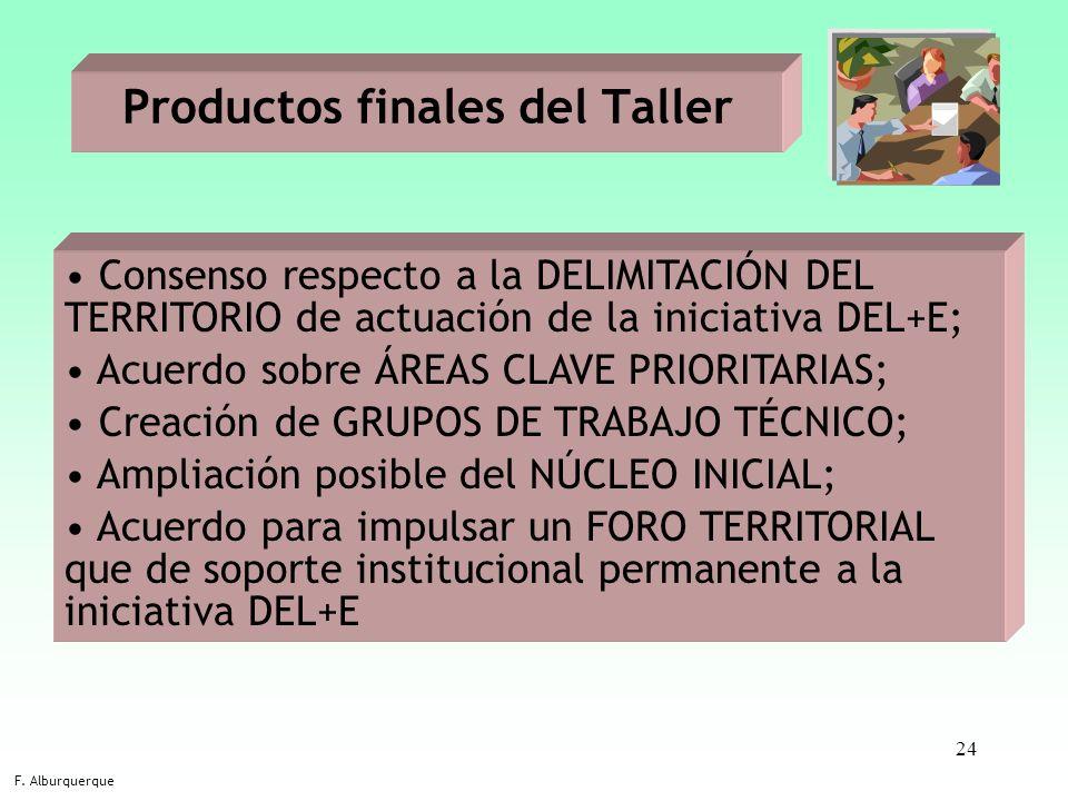 24 Consenso respecto a la DELIMITACIÓN DEL TERRITORIO de actuación de la iniciativa DEL+E; Acuerdo sobre ÁREAS CLAVE PRIORITARIAS; Creación de GRUPOS