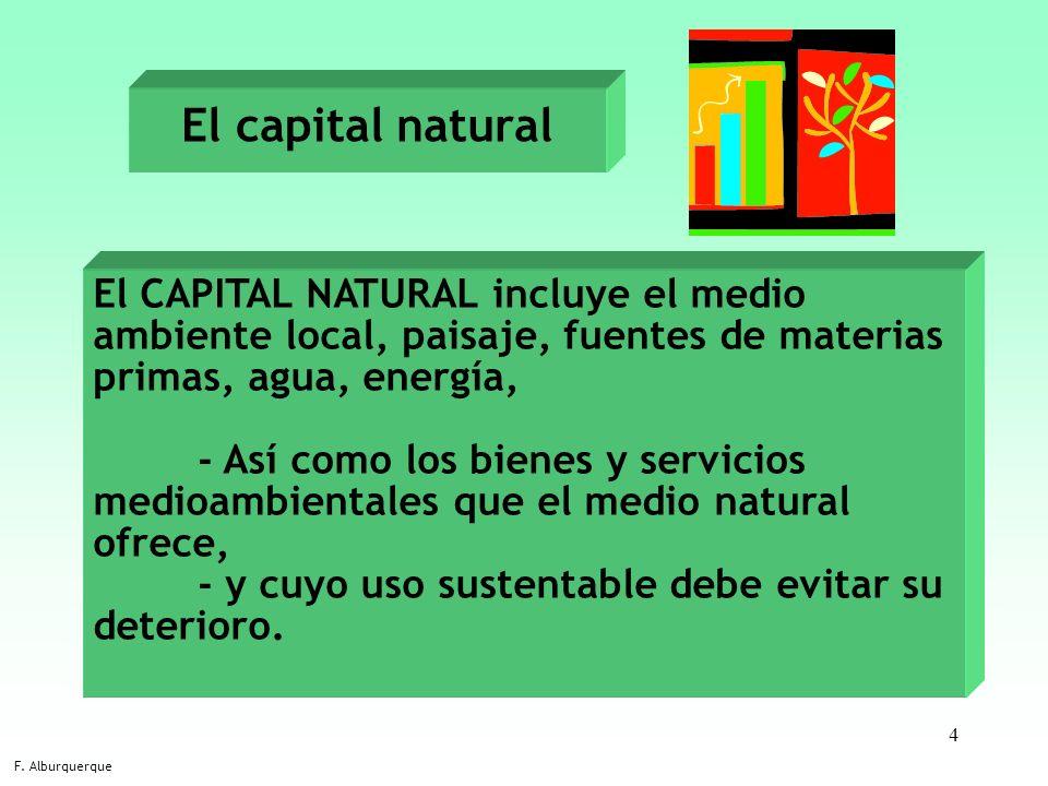 4 El capital natural F. Alburquerque El CAPITAL NATURAL incluye el medio ambiente local, paisaje, fuentes de materias primas, agua, energía, - Así com