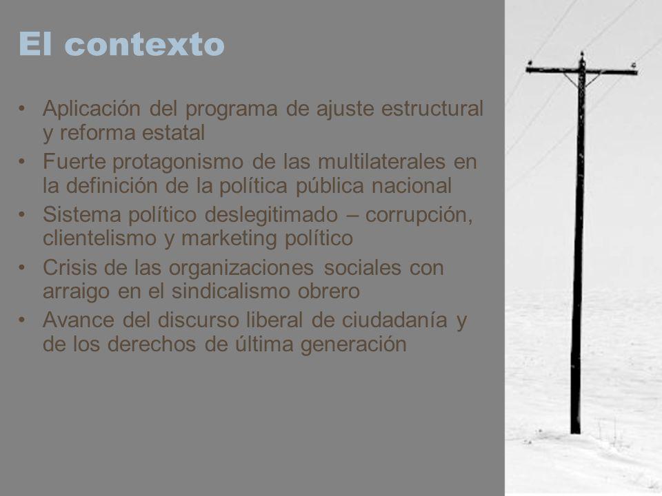 El contexto Aplicación del programa de ajuste estructural y reforma estatal Fuerte protagonismo de las multilaterales en la definición de la política