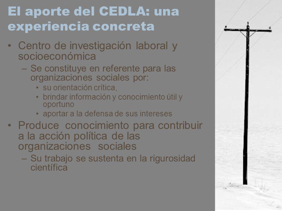 El aporte del CEDLA: una experiencia concreta Centro de investigación laboral y socioeconómica –Se constituye en referente para las organizaciones soc