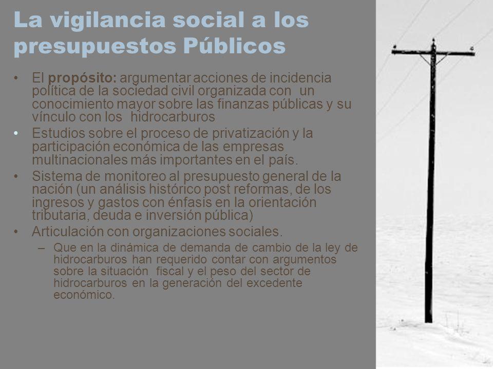 La vigilancia social a los presupuestos Públicos El propósito: argumentar acciones de incidencia política de la sociedad civil organizada con un conoc