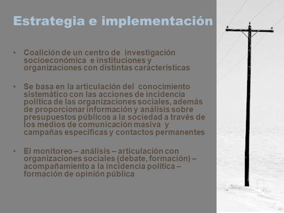 Estrategia e implementación Coalición de un centro de investigación socioeconómica e instituciones y organizaciones con distintas características Se b