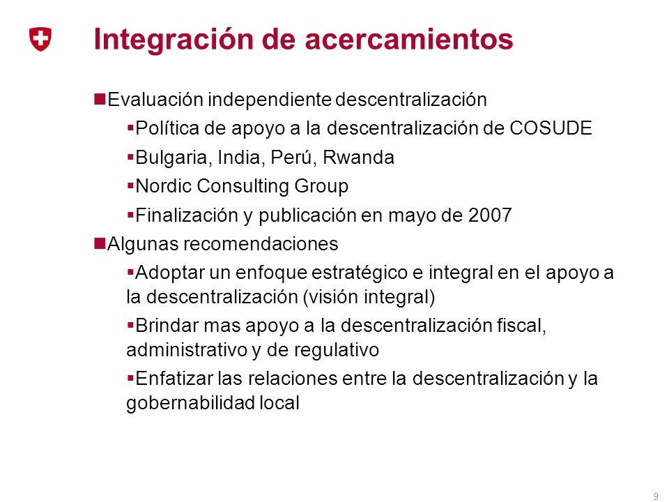 9 Integración de acercamientos Evaluación independiente descentralización Política de apoyo a la descentralización de COSUDE Bulgaria, India, Perú, Rw