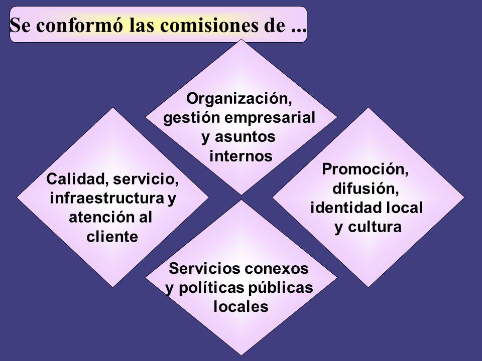 Se conformó las comisiones de... Calidad, servicio, infraestructura y atención al cliente Promoción, difusión, identidad local y cultura Servicios con