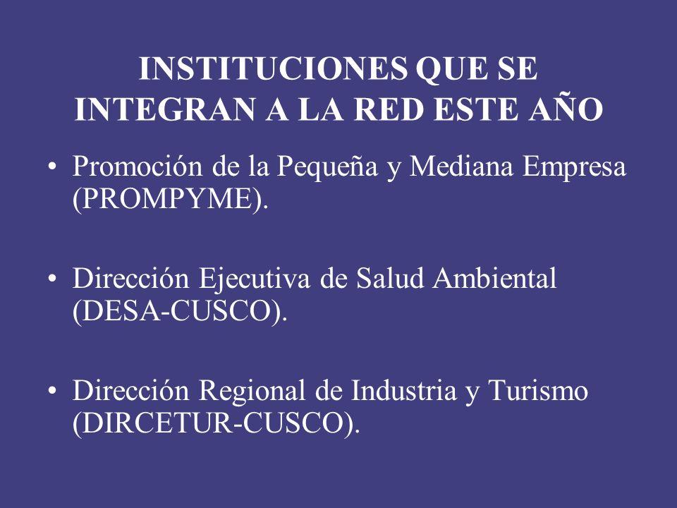 INSTITUCIONES QUE SE INTEGRAN A LA RED ESTE AÑO Promoción de la Pequeña y Mediana Empresa (PROMPYME). Dirección Ejecutiva de Salud Ambiental (DESA-CUS