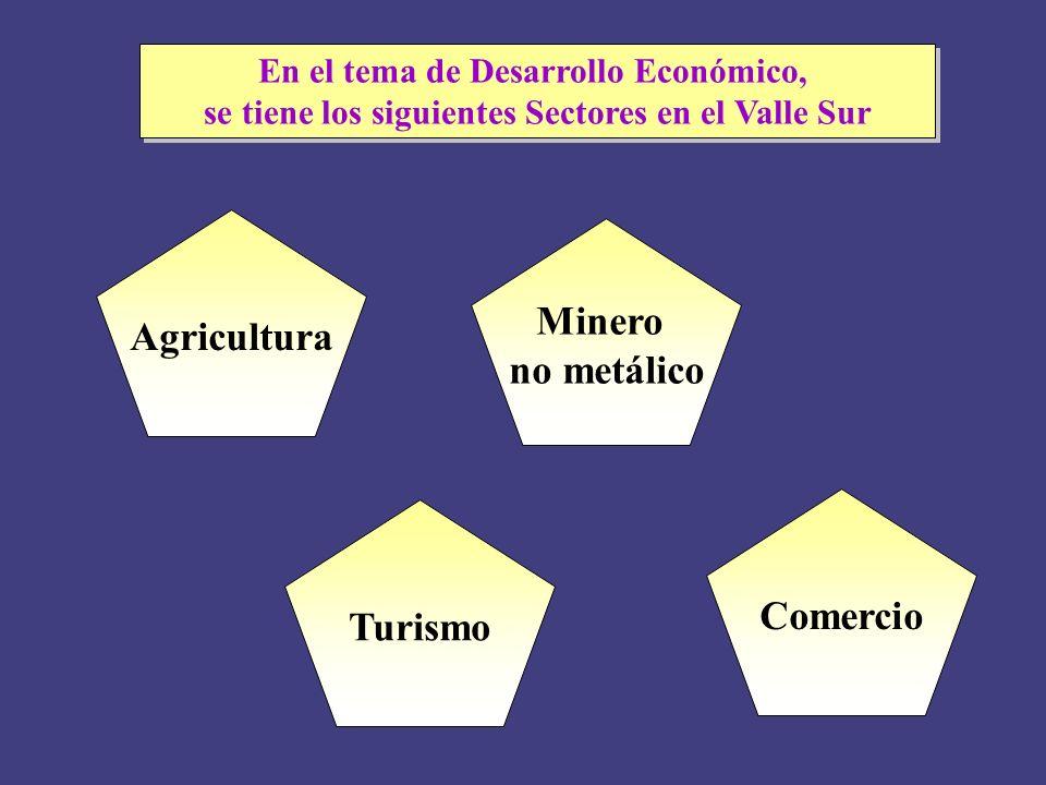 Minero no metálico Agricultura Turismo Comercio En el tema de Desarrollo Económico, se tiene los siguientes Sectores en el Valle Sur En el tema de Des