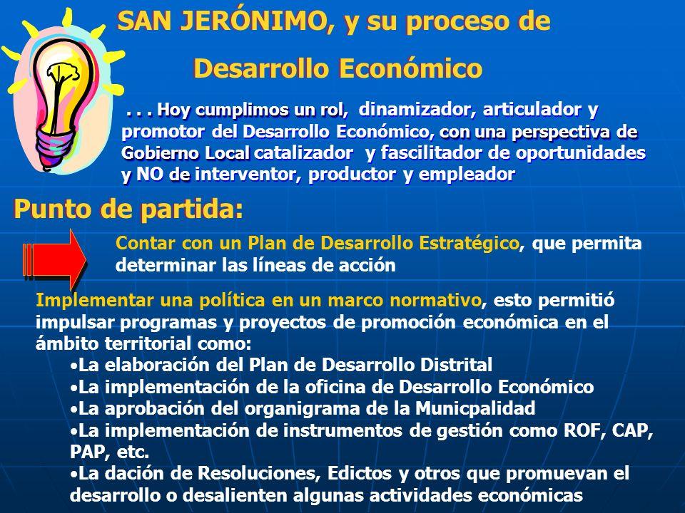 SAN JERÓNIMO, y su proceso de Desarrollo Económico SAN JERÓNIMO, y su proceso de Desarrollo Económico...