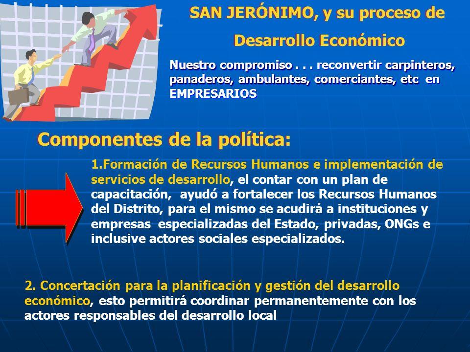 SAN JERÓNIMO, y su proceso de Desarrollo Económico SAN JERÓNIMO, y su proceso de Desarrollo Económico Nuestro compromisocarpinteros, panaderos, ambulantes, comerciantes, etc Nuestro compromiso...