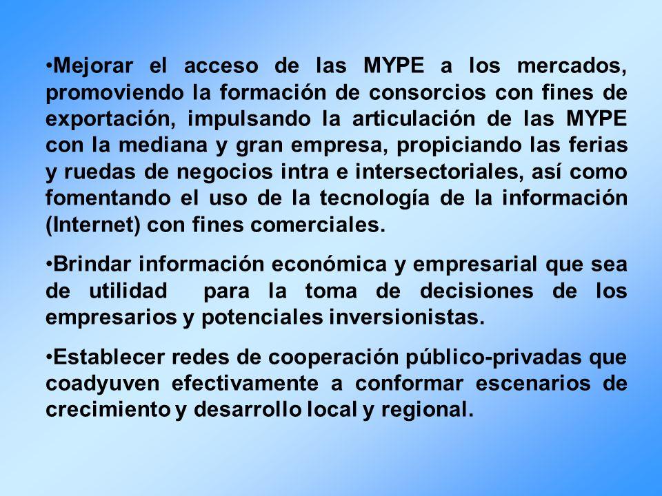 Mejorar el acceso de las MYPE a los mercados, promoviendo la formación de consorcios con fines de exportación, impulsando la articulación de las MYPE