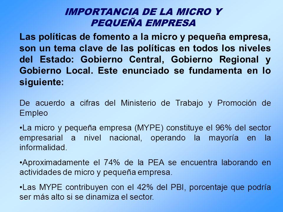 IMPORTANCIA DE LA MICRO Y PEQUEÑA EMPRESA Las políticas de fomento a la micro y pequeña empresa, son un tema clave de las políticas en todos los nivel