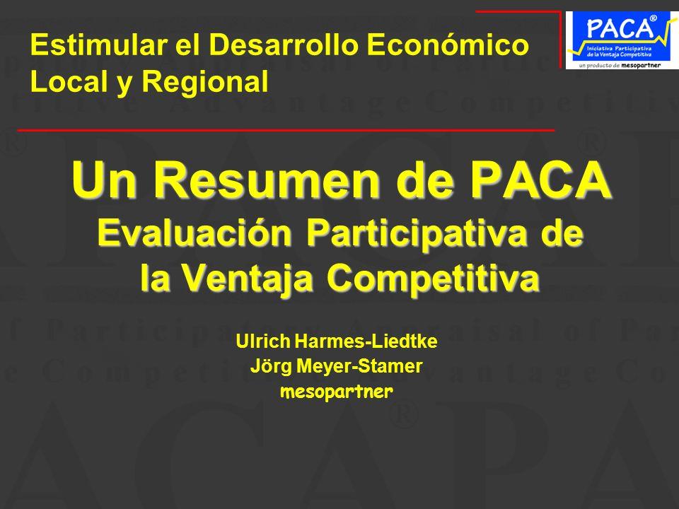 Un Resumen de PACA Evaluación Participativa de la Ventaja Competitiva Ulrich Harmes-Liedtke Jörg Meyer-Stamer mesopartner Estimular el Desarrollo Econ