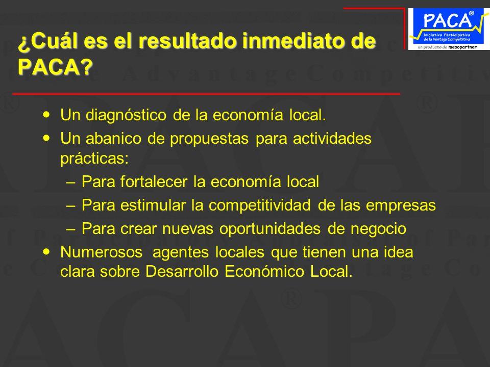 ¿Cuál es el resultado inmediato de PACA? Un diagnóstico de la economía local. Un abanico de propuestas para actividades prácticas: –Para fortalecer la