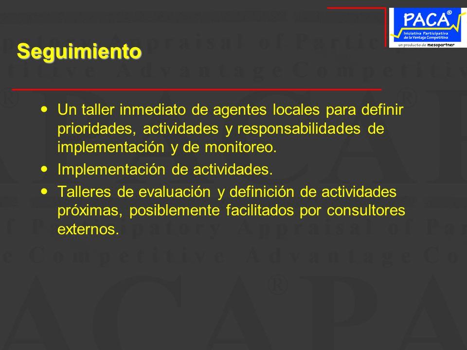 Seguimiento Un taller inmediato de agentes locales para definir prioridades, actividades y responsabilidades de implementación y de monitoreo. Impleme