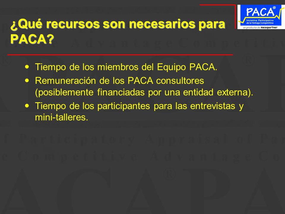 ¿Qué recursos son necesarios para PACA? Tiempo de los miembros del Equipo PACA. Remuneración de los PACA consultores (posiblemente financiadas por una