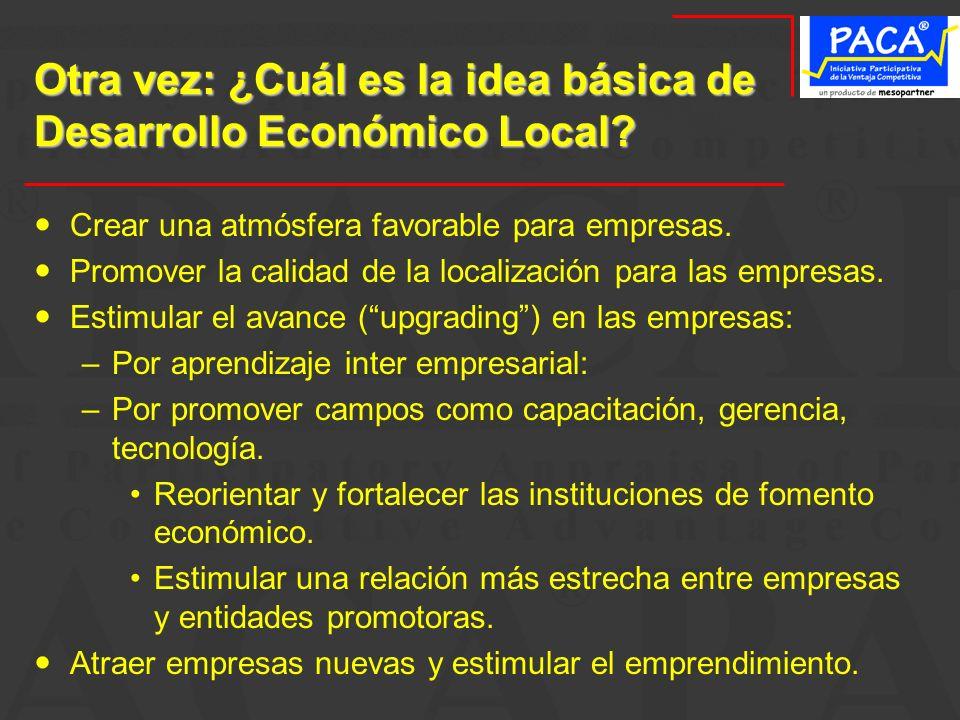 Otra vez: ¿Cuál es la idea básica de Desarrollo Económico Local? Crear una atmósfera favorable para empresas. Promover la calidad de la localización p