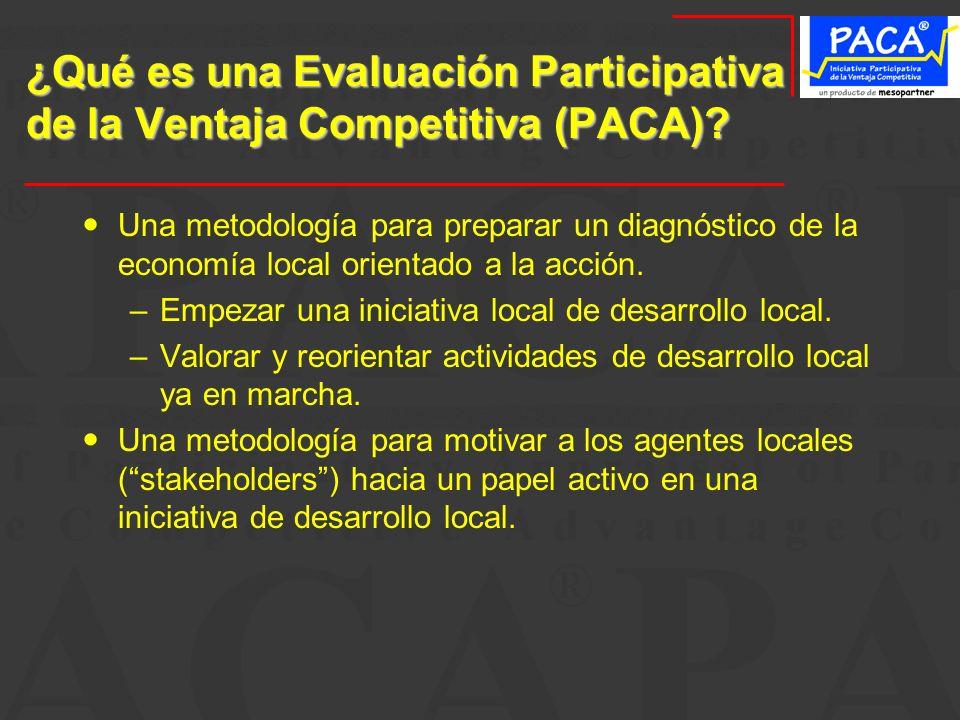 ¿Qué es una Evaluación Participativa de la Ventaja Competitiva (PACA)? Una metodología para preparar un diagnóstico de la economía local orientado a l