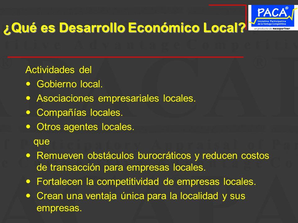 ¿Qué es Desarrollo Económico Local? Actividades del Gobierno local. Asociaciones empresariales locales. Compañías locales. Otros agentes locales. que