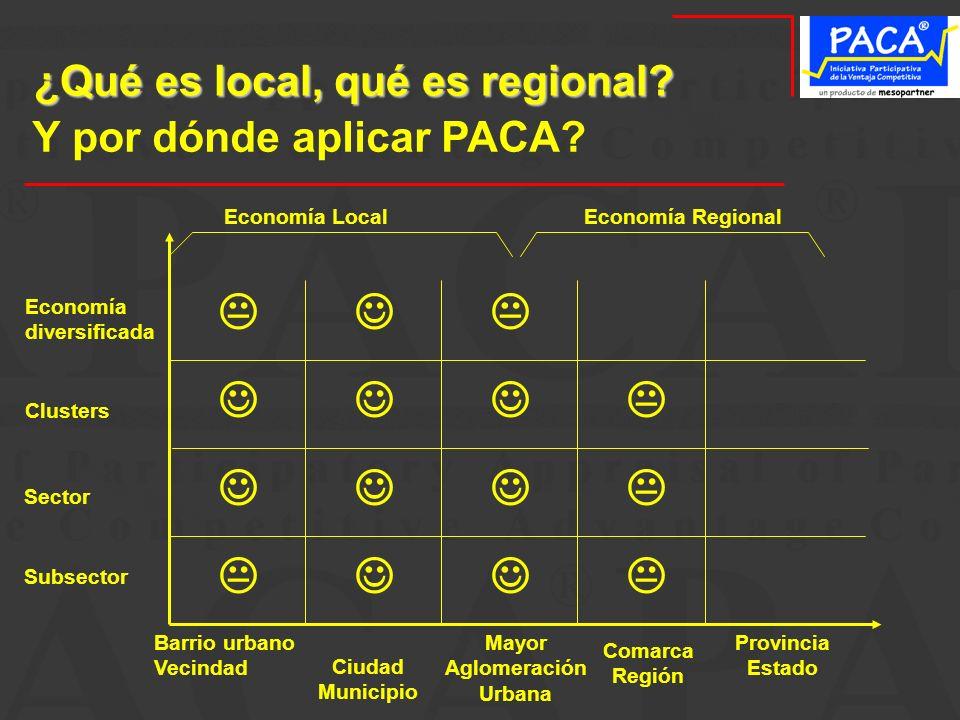 ¿Qué es local, qué es regional? Comarca Región Subsector Sector Clusters Economía diversificada Y por dónde aplicar PACA? Economía LocalEconomía Regio