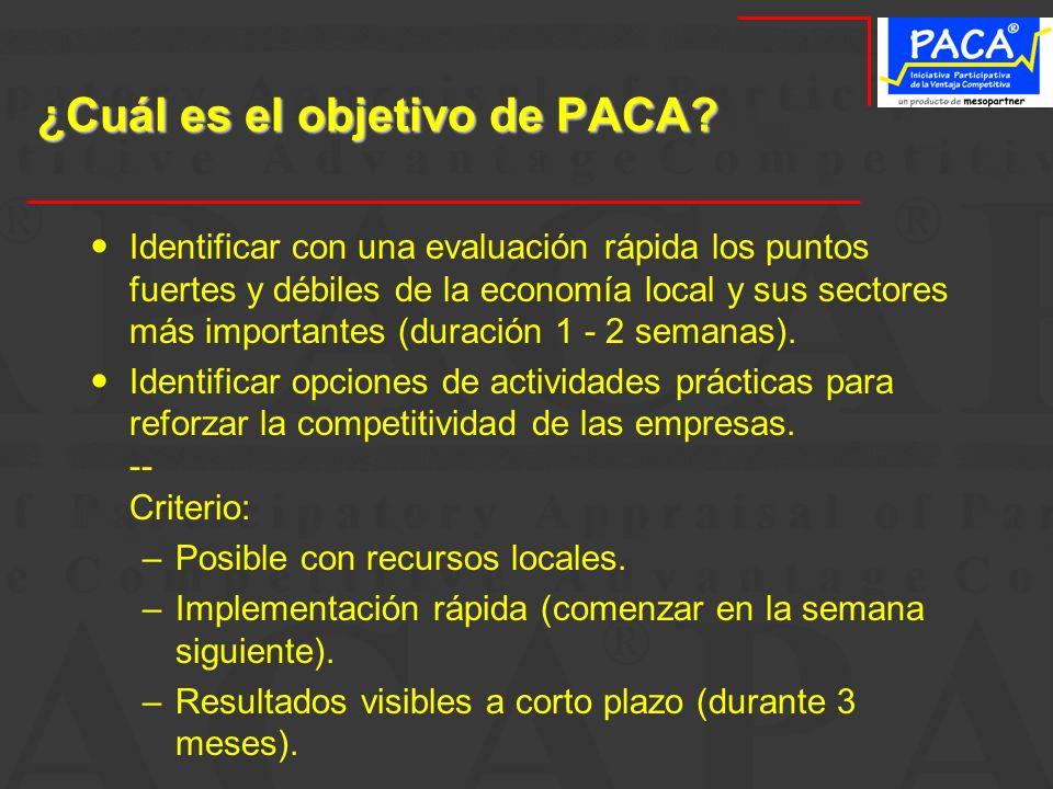 ¿Cuál es el objetivo de PACA? Identificar con una evaluación rápida los puntos fuertes y débiles de la economía local y sus sectores más importantes (
