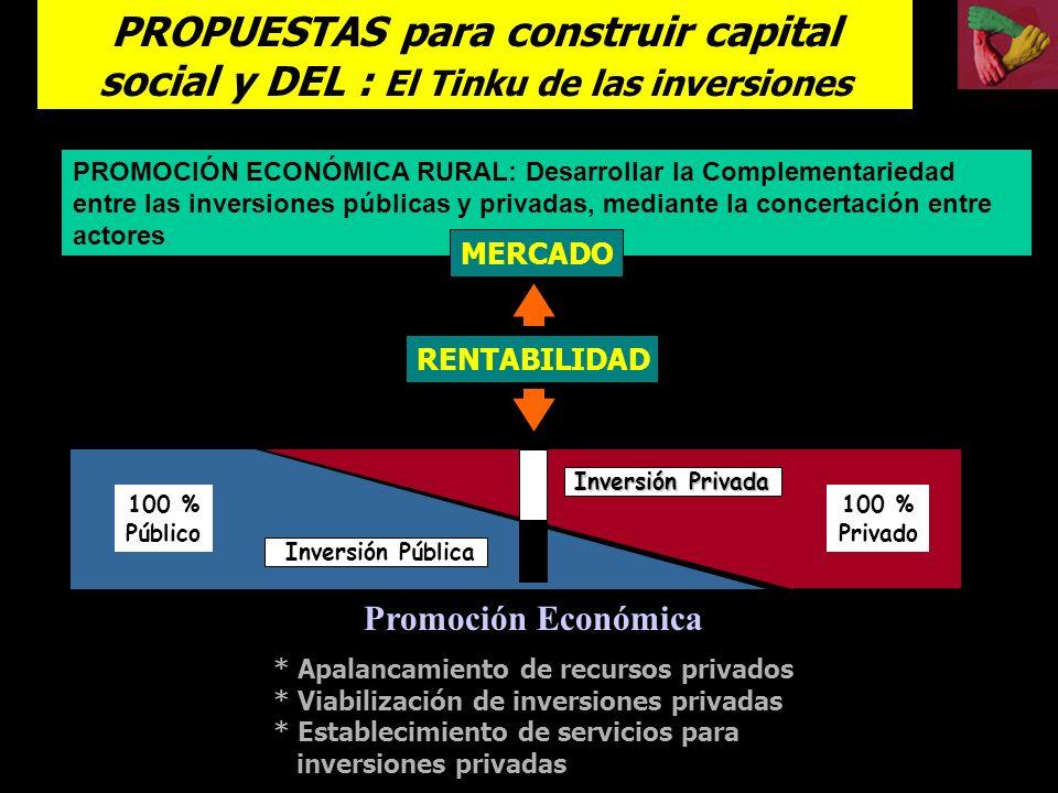 PROMOCIÓN ECONÓMICA RURAL: Desarrollar la Complementariedad entre las inversiones públicas y privadas, mediante la concertación entre actores.