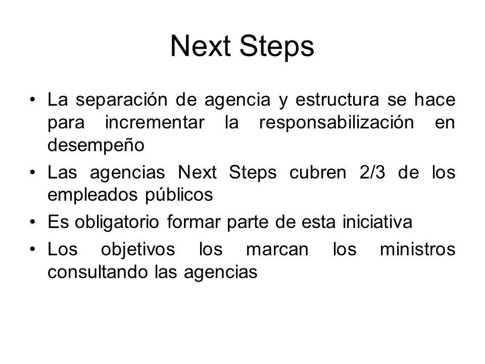 Next Steps Objetivos relacionados con calidad, finanzas, eficiencia y resultados (outputs) Cada agencia tiene un mix diferente de objetivos El cumplimiento de objetivos se utiliza para asignar recursos Link entre paga a individuo y contribución a la organización
