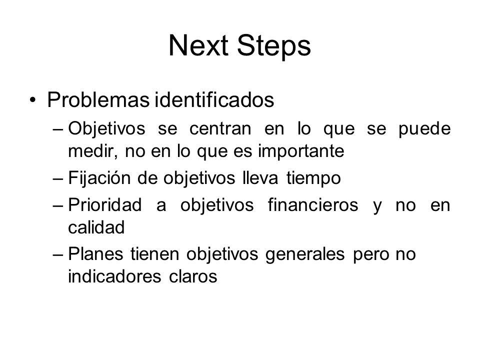 Next Steps Problemas identificados –Objetivos se centran en lo que se puede medir, no en lo que es importante –Fijación de objetivos lleva tiempo –Pri