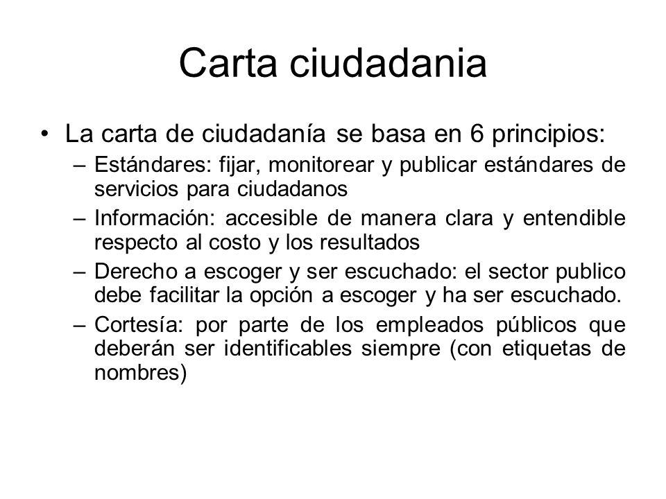 Carta ciudadania La carta de ciudadanía se basa en 6 principios: –Estándares: fijar, monitorear y publicar estándares de servicios para ciudadanos –In