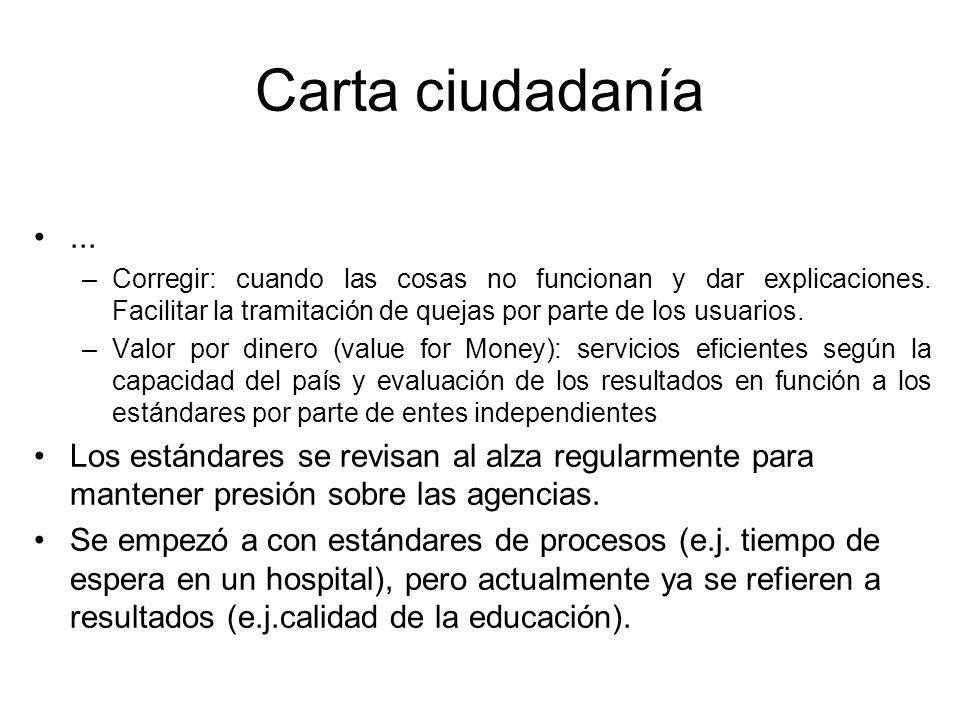 Carta ciudadanía... –Corregir: cuando las cosas no funcionan y dar explicaciones. Facilitar la tramitación de quejas por parte de los usuarios. –Valor
