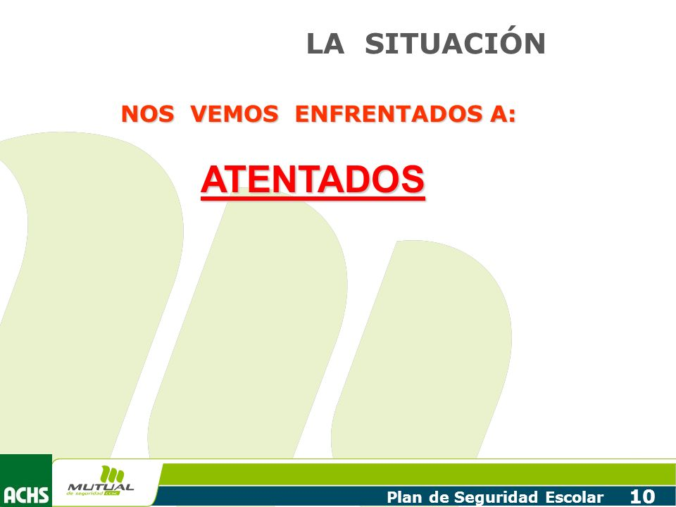 Plan de Seguridad Escolar 10 LA SITUACIÓN NOS VEMOS ENFRENTADOS A: ATENTADOS