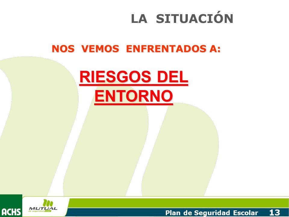 Plan de Seguridad Escolar 13 LA SITUACIÓN NOS VEMOS ENFRENTADOS A: RIESGOS DEL ENTORNO