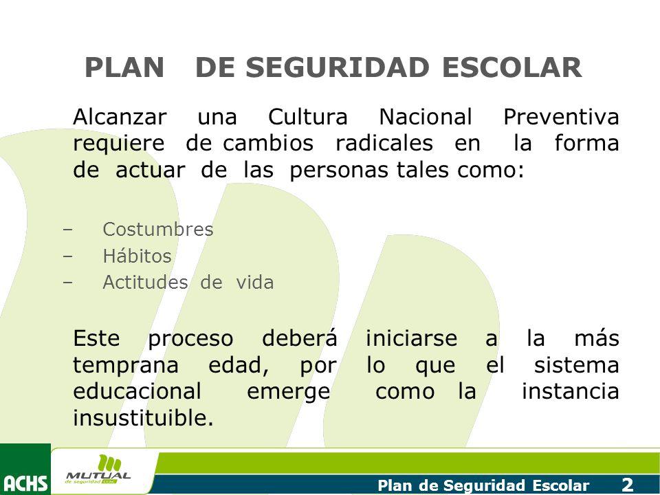 Plan de Seguridad Escolar 2 PLAN DE SEGURIDAD ESCOLAR Alcanzar una Cultura Nacional Preventiva requiere de cambios radicales en la forma de actuar de