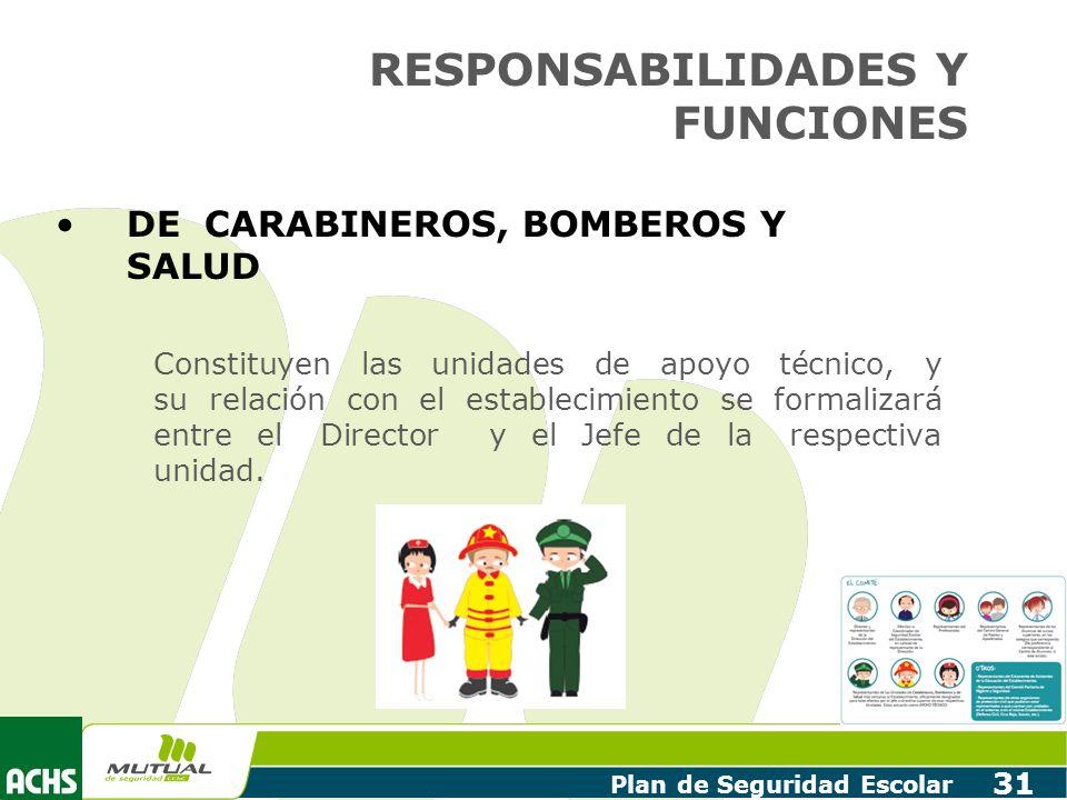 Plan de Seguridad Escolar 31 DE CARABINEROS, BOMBEROS Y SALUD Constituyen las unidades de apoyo técnico, y su relación con el establecimiento se forma