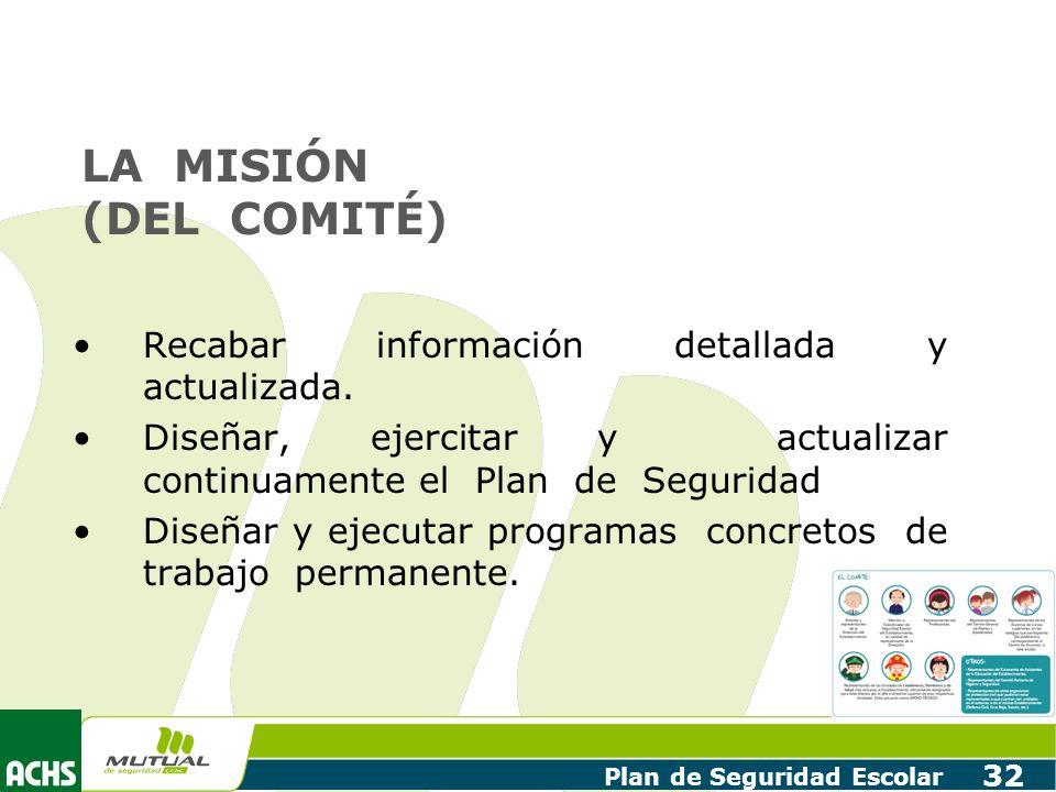 Plan de Seguridad Escolar 32 LA MISIÓN (DEL COMITÉ) Recabar información detallada y actualizada. Diseñar, ejercitar y actualizar continuamente el Plan