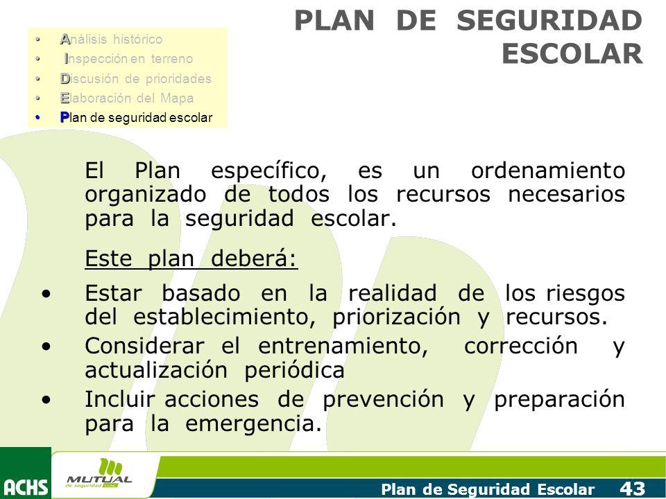 Plan de Seguridad Escolar 43 El Plan específico, es un ordenamiento organizado de todos los recursos necesarios para la seguridad escolar. Este plan d