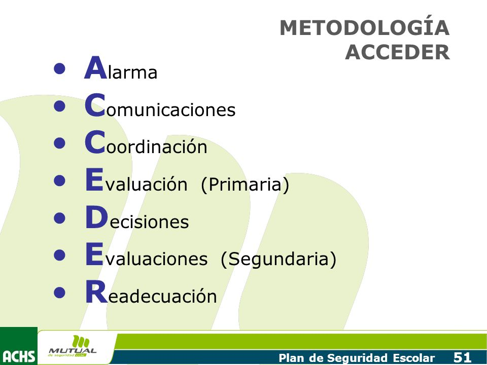 Plan de Seguridad Escolar 51 A larma C omunicaciones C oordinación E valuación (Primaria) D ecisiones E valuaciones (Segundaria) R eadecuación METODOL