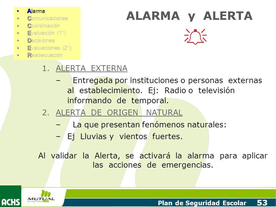 Plan de Seguridad Escolar 53 1.ALERTA EXTERNA – Entregada por instituciones o personas externas al establecimiento. Ej: Radio o televisión informando