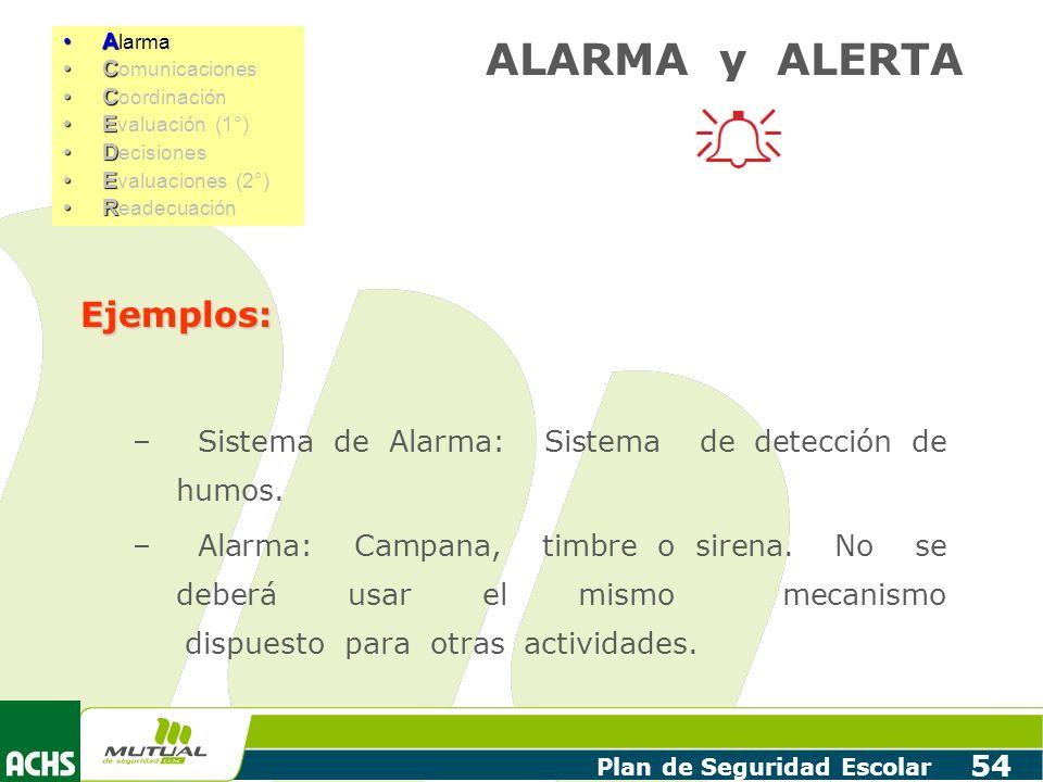 Plan de Seguridad Escolar 54 Ejemplos: – Sistema de Alarma: Sistema de detección de humos. – Alarma: Campana, timbre o sirena. No se deberá usar el mi