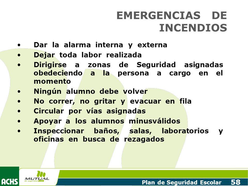 Plan de Seguridad Escolar 58 EMERGENCIAS DE INCENDIOS Dar la alarma interna y externa Dejar toda labor realizada Dirigirse a zonas de Seguridad asigna